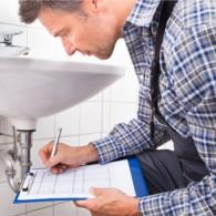 inspector checking a bathroom