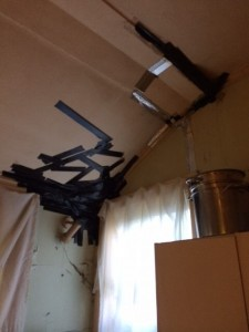 unsafe ceiling covered with ductape