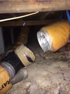 broken heating duct pipe